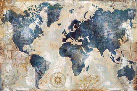 world map indigo canvas art  xander blue icanvas
