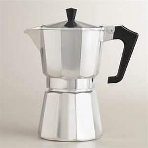 Silver 6-Cup Stovetop Moka Pot Espresso Maker World Market