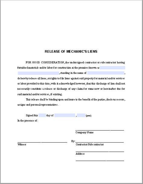 release  mechanics liens certificate template