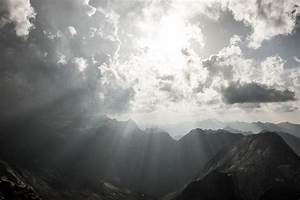 Mountain, Landscape, With, Storm, Clouds, And, Sunshine, Stock, Photo