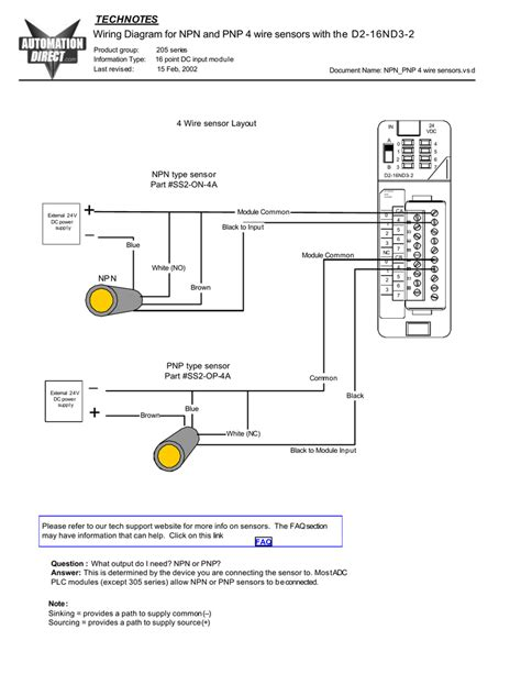 4 Wire Proximity Switch Diagram by Wiring Diagram For Npn And Pnp 4 Wire Sensors And D2 16nd3 2