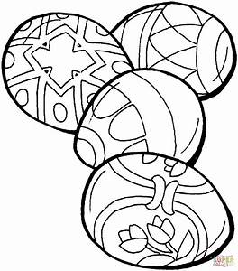 Four Easter Eggs Coloring Page Free Printable Coloring Pages