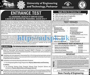Computer Test 2016 : new entry test 2016 17 university of engineering and technology peshawar entrance test for b sc ~ Eleganceandgraceweddings.com Haus und Dekorationen