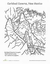 Coloring National Park Caverns Parks Carlsbad Worksheets Worksheet Pages Cavern Education Yellowstone Sheets Mexico Printables Canyon Grand Animals Map Mountains sketch template