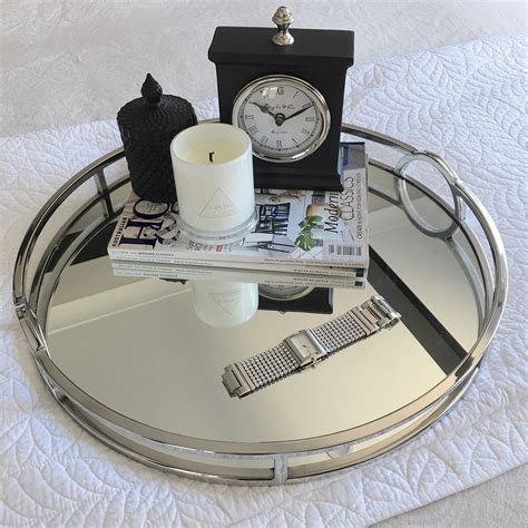 Round Silver & Mirror Tray with Arch Handle - XLarge