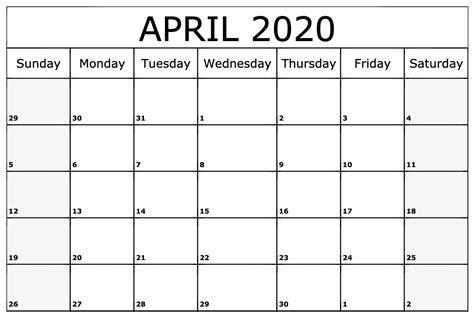 april  calendar   word excel format
