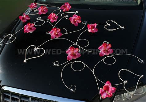 decoration voiture mariage pas cher d 233 coration voiture mariage orchid 233 es fonc 233 et le cœur
