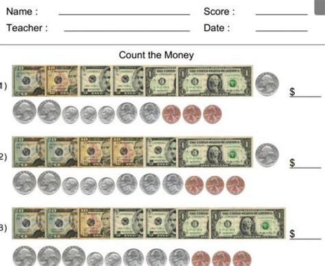 count the money worksheet generator educational