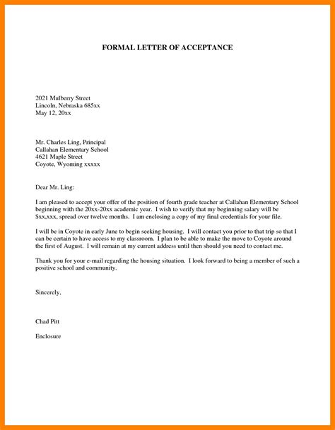 format of formal letter to principal letters free