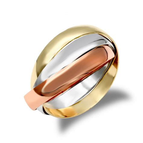 unisex solid 9ct yellow white and rose gold interlocked