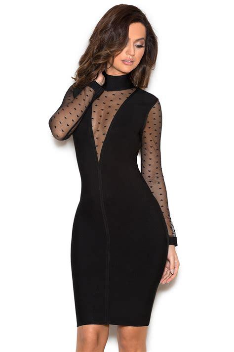 Clothing  Bandage Dresses  u0026#39;Hernandau0026#39; Black Sheer Mesh and Bandage Dress