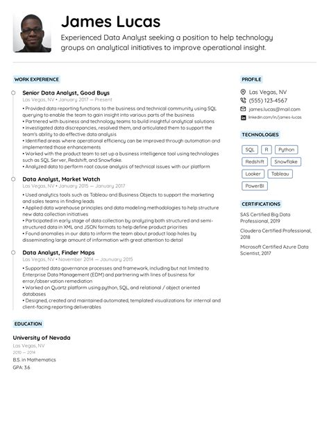 Start by reviewing our free data analyst resume sample! Data Analyst Resume Example & Writing Tips for 2020