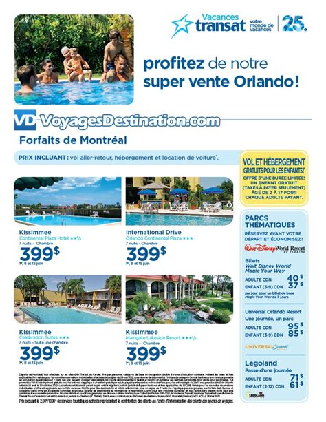 forfaits orlando et walt disney world d 233 part de montr 233 al voyages destination