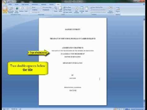 Turabian Formate Template Microsoft Word by Turabian 2 Title Page Word 2007 Youtube