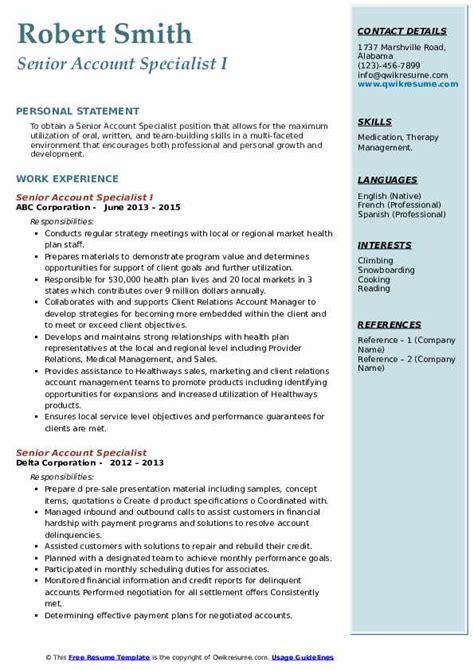 senior account specialist resume samples qwikresume