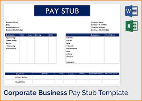 pay stub template word secure paystub