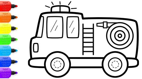 Fire Truck Coloring With Glitters How To Draw Set