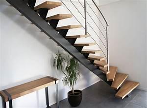 Marche D Escalier En Chene : escalier limon central en acier peint et marches en ch ne escalier pinterest staircases ~ Melissatoandfro.com Idées de Décoration