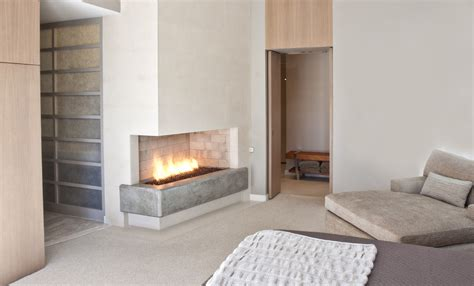 propane wall corner gas fireplace for contemporary bedroom with oak
