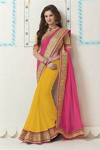 Buy Georgette Party Wear Saree In Yellow and Pink Colour