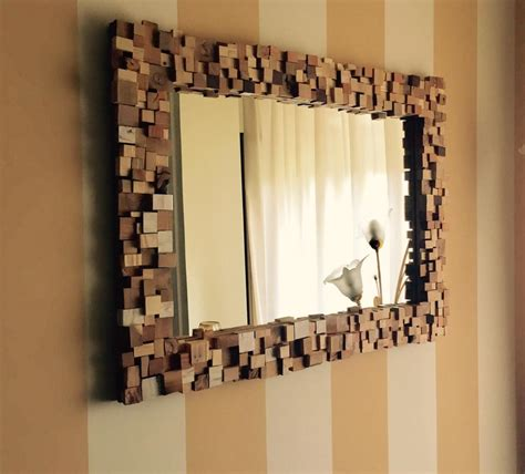 specchi con cornice in legno specchio con cornice a mosaico in legno multi wood