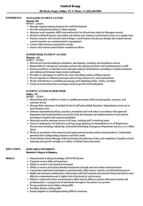 Patient Access Representative Resume by Patient Access Resume Sles Velvet