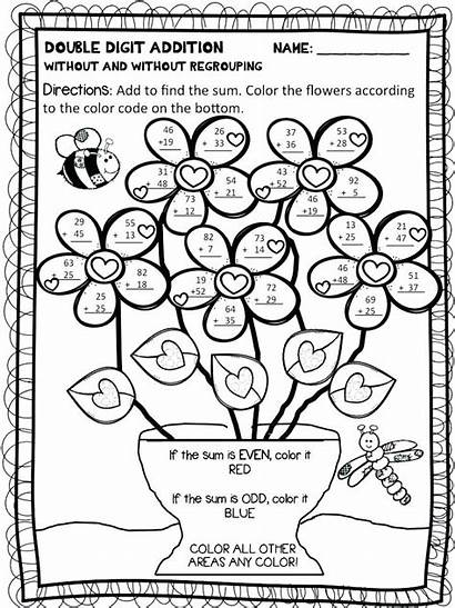 Coloring Pages Worksheets Number Addition Grade Printable
