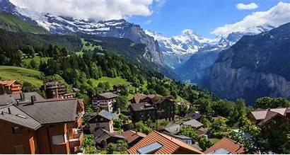 Switzerland Wengen Lauterbrunnen Valley Jungfrau Town Swiss