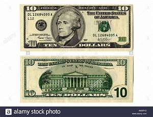 Front and back side of the new ten dollar bill Stock Photo ...