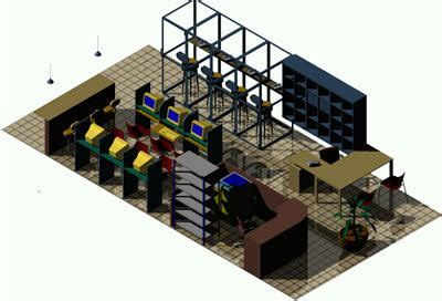 internet cafe  phone booths  dwg model  autocad