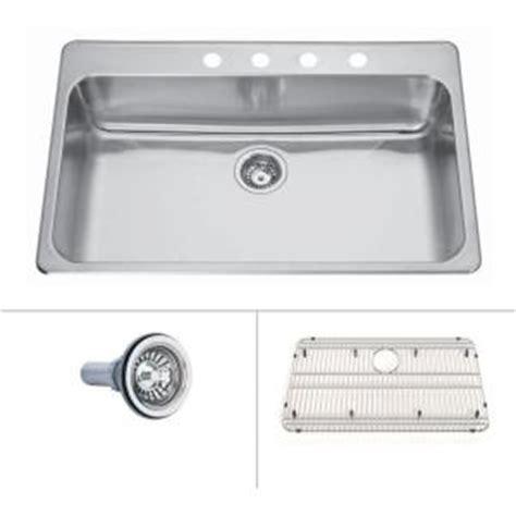 home depot kitchen sinks top mount ecosinks acero top mount drop in stainless steel 33x22x8 4 8405