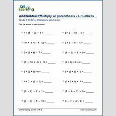 Grade 3 Order Of Operations Worksheet Addsubtract