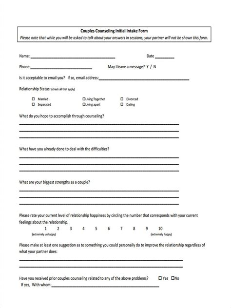 initial intake form 8 counseling intake forms free sle exle format