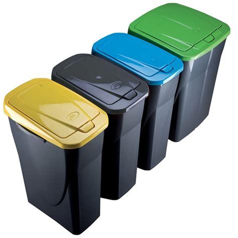 poubelle de tri sélectif cuisine 25 litres couvercle jaune