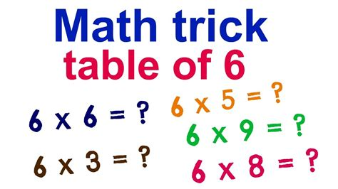 Math Trick To Learn Table Of 6! Youtube