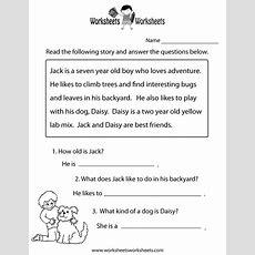 Reading Comprehension Practice Worksheet Printable  Language  Free Reading Comprehension