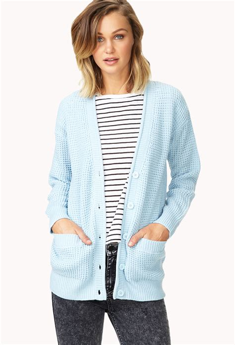 Light Cardigan by Forever 21 Cozy Cardigan In Blue Light Blue Lyst