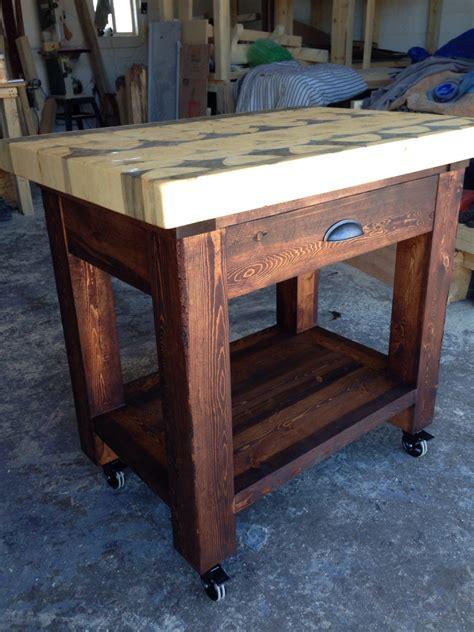 kitchen island  butcher block top handcrafted