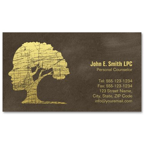 brown creative psychologist business cards mind  tree