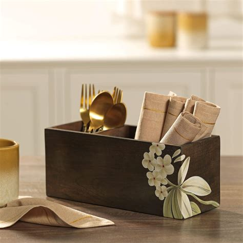 buy frangipani wooden cutlery stand  ellementry