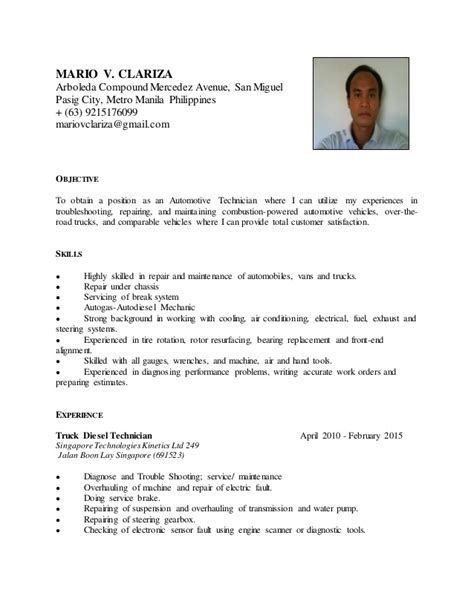 Curriculum Vitae For Automotive Technician by Mario V Clariza Resume Automotive Technician
