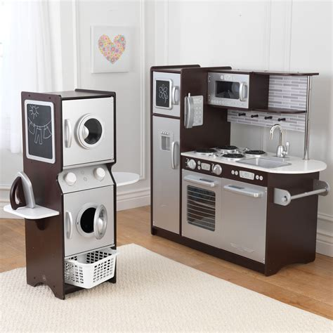 play kitchen sets kidkraft espresso uptown play kitchen and laundry playset