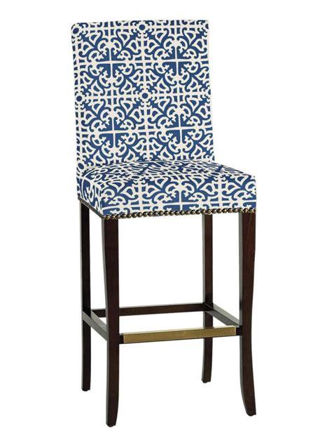 transitional bar stool  bold blue  white patterned fabric hgtv   home bar