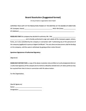 printable board resolution sample forms  templates