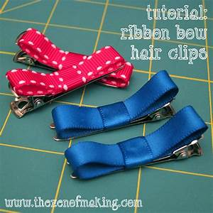 Tutorial Ribbon Bow Hair Clips Red Handled Scissors