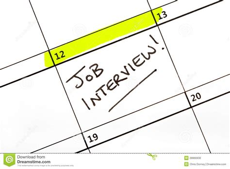 job interview date   calendar stock photo image