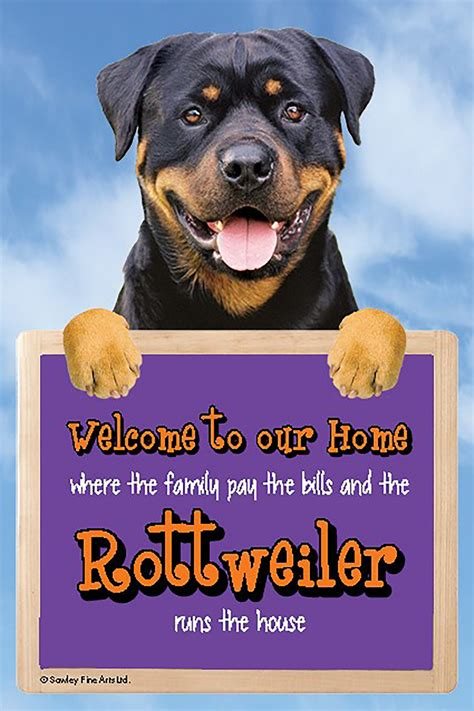 Rottweiler Dog WELCOME to our HOME Sign Plaque – Large 9 x ...