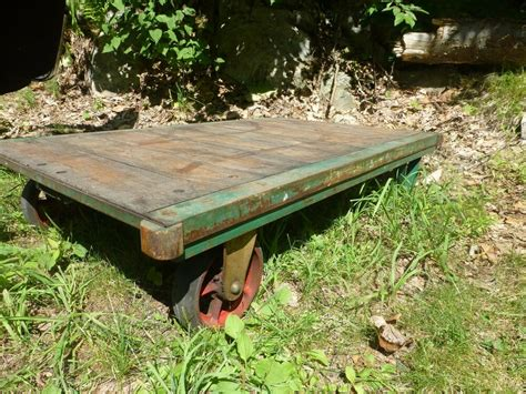 Vtg Steampunk Industrial Furniture Train Railroad Cart