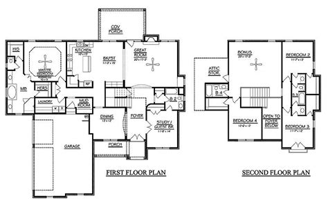 4 bedroom floor plans 2 story 4 bedroom 2 story house plans