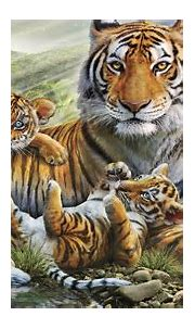 Jungle Animal Tiger With Her Cubs Abstract Wallpaper Hd ...